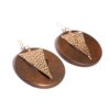 Wooden Circle with Alloy Drop Earrings