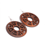 Brown Patterned Trim Wooden Earrings