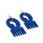 Blue Wooden Adinkra Symbolic Earrings
