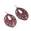 Brown Patterned Leaf Earrings